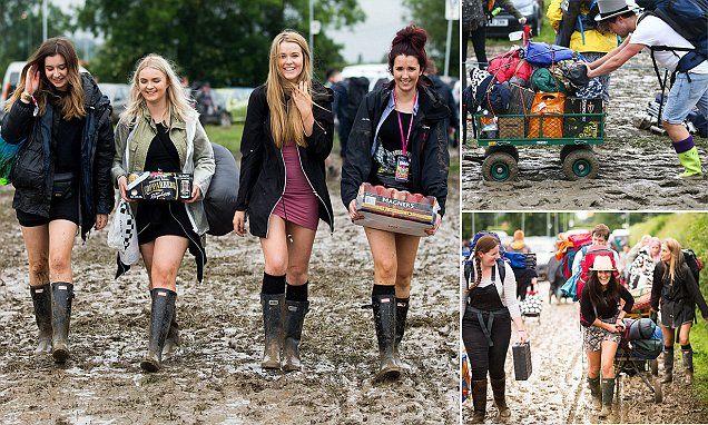Heavy rain brings TEN-HOUR traffic jams to Glastonbury