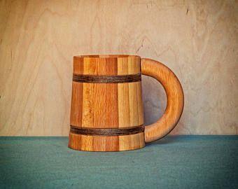 Taza de madera 0,5 L |  Jarra de cerveza de madera | Regalo madera padrino | Regalo de amante de la cerveza