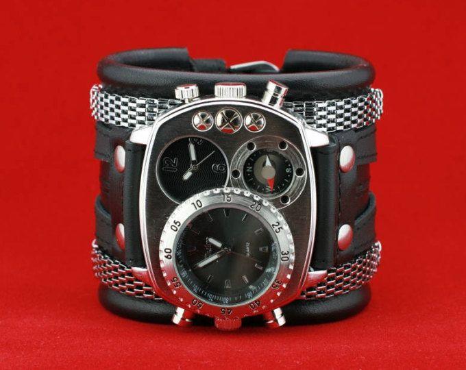 """Pulsera reloj pulsera pulsera de cuero hombres """"Highlander-4"""". Reloj Steampunk. Regalos para él. VENTA. hecho a mano. Envío en todo el mundo"""