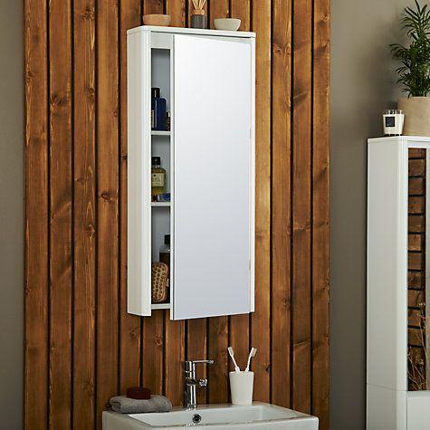 buy john lewis gloss curve single mirrored bathroom cabinet large online at johnlewiscom