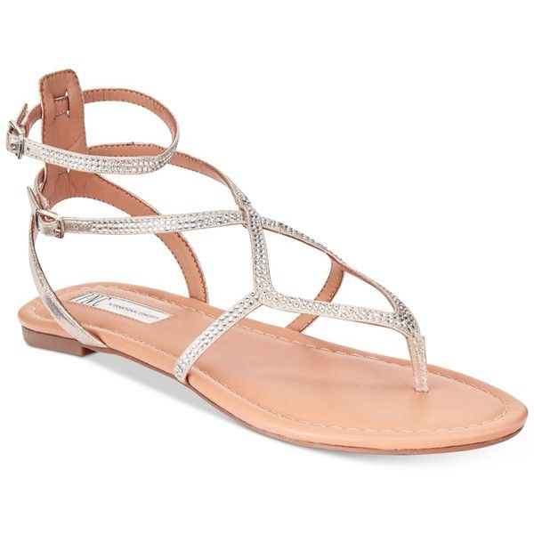 INC Women's Maconn Flat Sandals, Created for Macy's ($49) ❤ liked on Polyvore featuring shoes, sandals, pearl gold, strappy gladiator sandals, rhinestone sandals, strappy shoes, inc international concepts shoes and strappy flat sandals