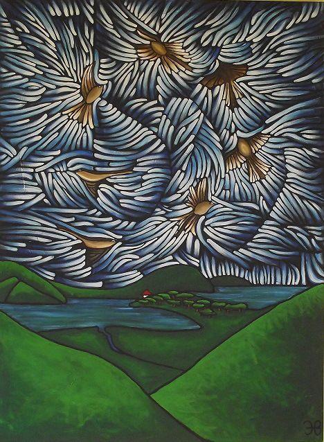 Fantails at Wenderholm  Artist Helen Beech