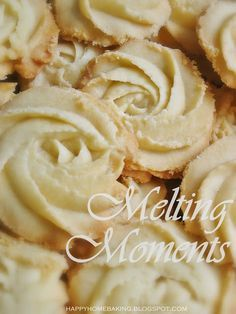 Melting Moments Ingredients 175g unsalted butter, softened at room temperature 40g icing sugar 1/2 teaspoon pure vanilla extract 175g plain flour 40g cornflour (cornstarch) Recipe Source: The Cookie and Biscuit Bible Note: To prevent the cookies from spreading and hold the shape better, after piping, chill the tray of unbaked cookies in the fridge for about 30mins before baking.
