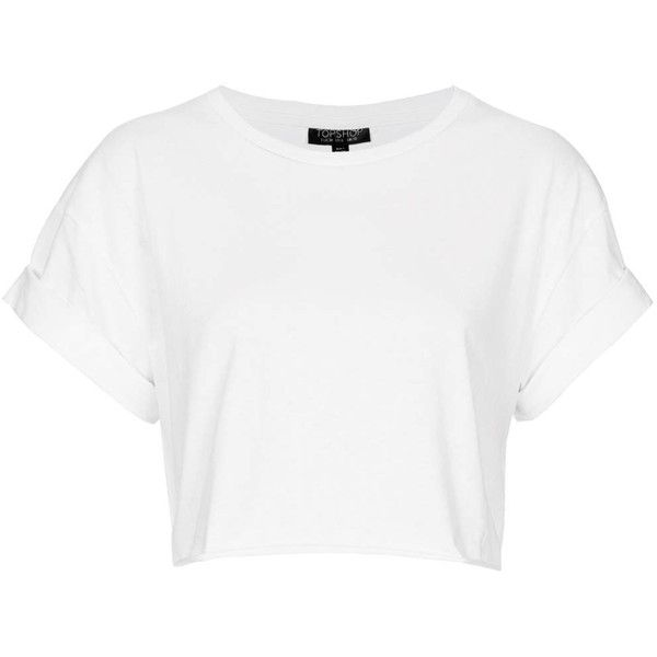 TOPSHOP Roll Back Crop Tee ($20) ❤ liked on Polyvore featuring tops, t-shirts, shirts, crop tops, white, t shirts, cotton crop top, crop top, white shirt and white crop top