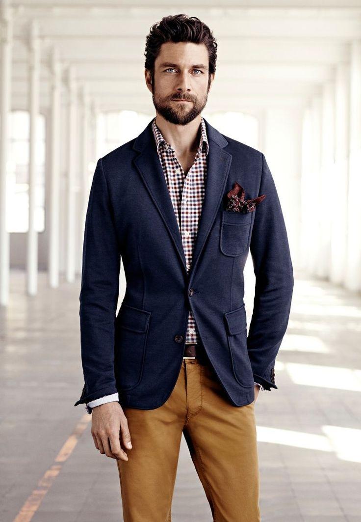 Patch pocket blazer, navy w/ camel