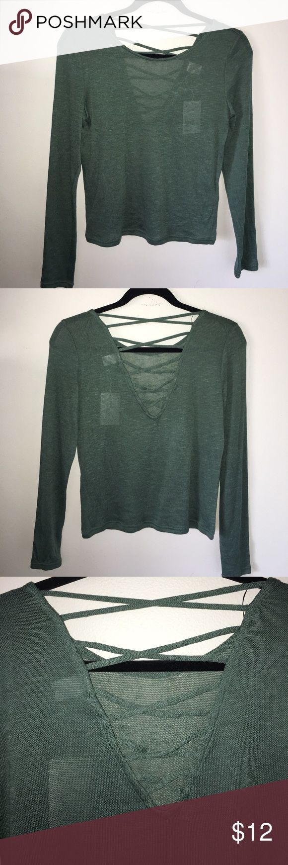 NWT Heathered Hunter Green Top Pantone color of the year Huntergreen! Lightweight spring/summer top with corset back detail. Tops