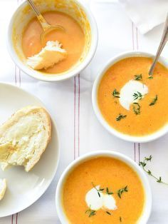 Ginger Carrot Soup. Halve the stock and omit the water. Add heavy cream instead of yogurt.
