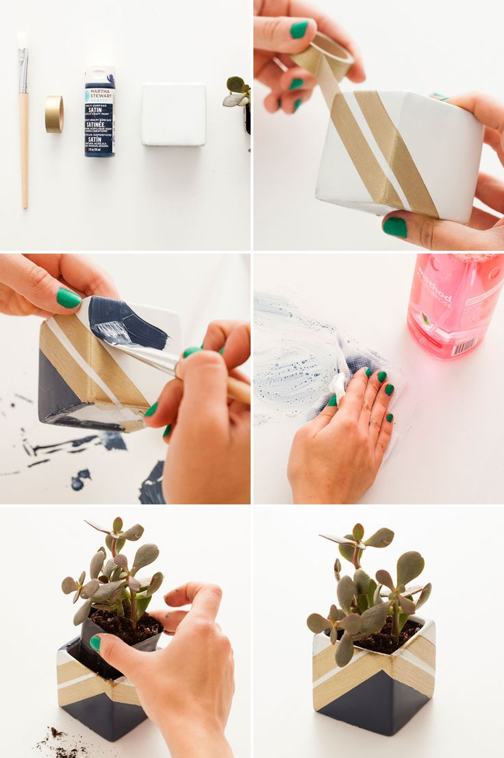 Add blocks of gold + color to square succulent planters by following this easy project.
