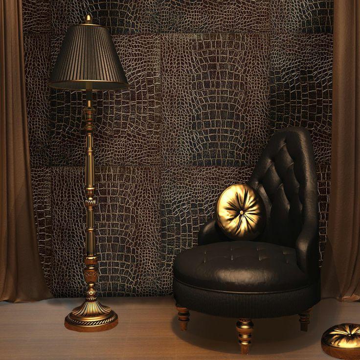 Art. Pelle di Coccodrillo Oro, rivestimento in legno di Wengè bigliato, pantografato, decorato con oro 24 kt. #gold #wall #luxury #design #quadrolegno
