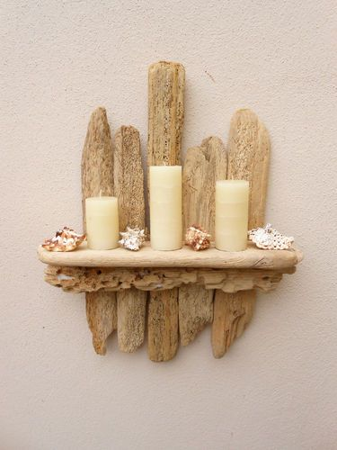 DRIFTWOOD CANDLE SCONCE/SHELF HANDMADE RECLAIMED WALL HANGING FURNITURE by (DC) | eBay