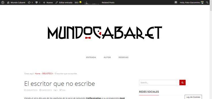 'Mundo Cabaret' también en Pinterest: El escritor que no escribe #MundoCabaret #Pinterest