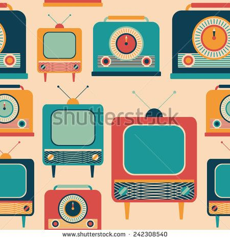 Seamless pattern with colorful retro TVs and radio receivers. #retro #retropattern #vectorpattern #patterndesign #seamlesspattern