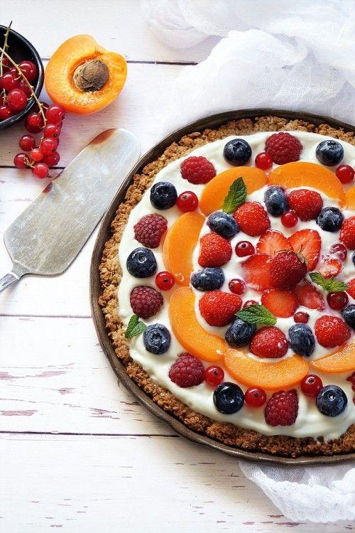Gyümölcsös granolapizza recept