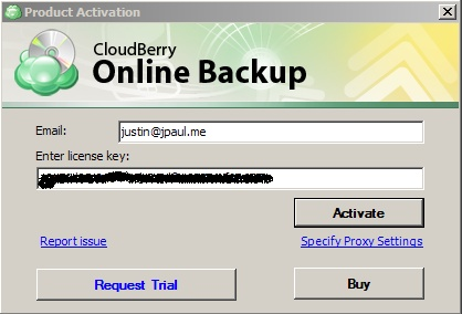 online backup to Amazon with Cloudberry