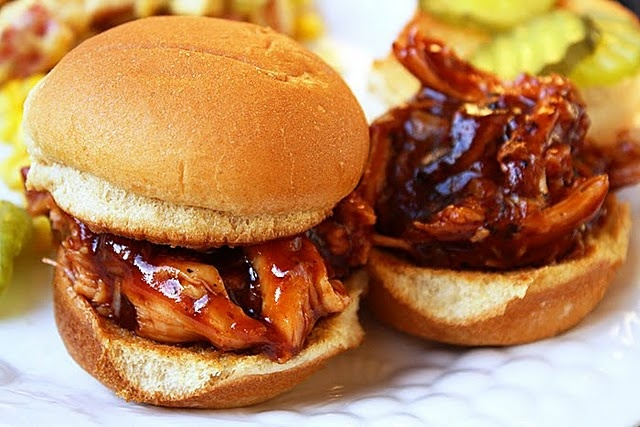 BBQ Pulled Chicken Sandwiches. SOOOOO good. The homemade BBQ sauce is to die for.
