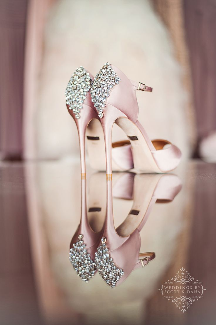 Gorgeous Badgley Mischka wedding shoes – blush. Shoe detail photo. Blush wedding…
