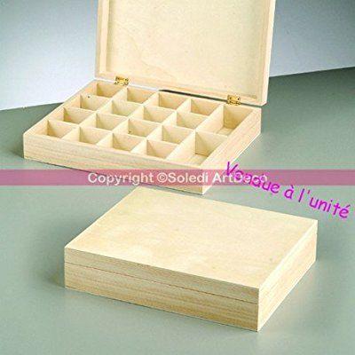 Coffret à rangement ou thé en bois avec 18 compartiments, Boite MDF 25x20x5,5 cm, à customiser: Amazon.fr: Cuisine & Maison