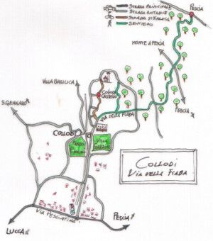A little map to show the sorrounds of the city of Lucca: Lots of paths into the countryside and its villages and vineyards.