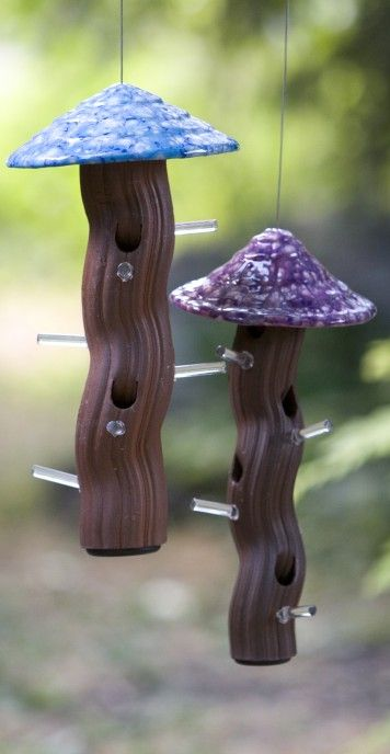 Groovy weather-proof tube feeders are well liked by birds! Safe outdoors year-round and chew-proof by squirrels, these fun feeders are handmade art for the garden. With vibrant glazes that never fade,