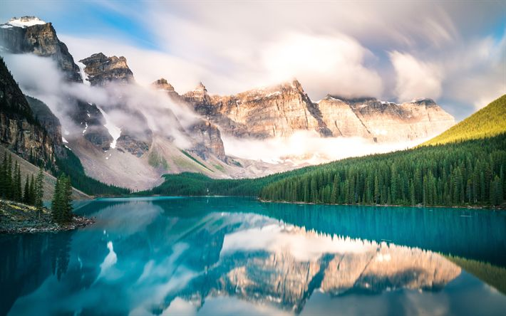 Download wallpapers Canada, Moraine lake, morning, summer, Banff National Park, mountains, canadian landmarks, Canadian Rockies, Alberta, forest