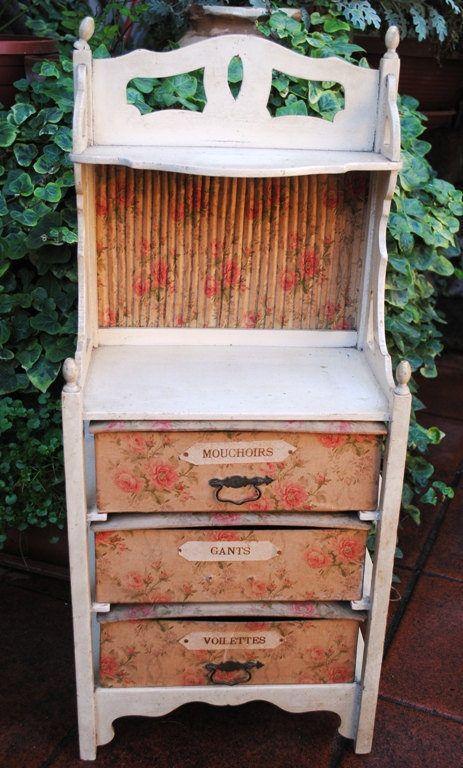 Rare Original French Textile BOX CABINET c 1900 Shabby Chic ROSES simply divine di villavillacolle su Etsy