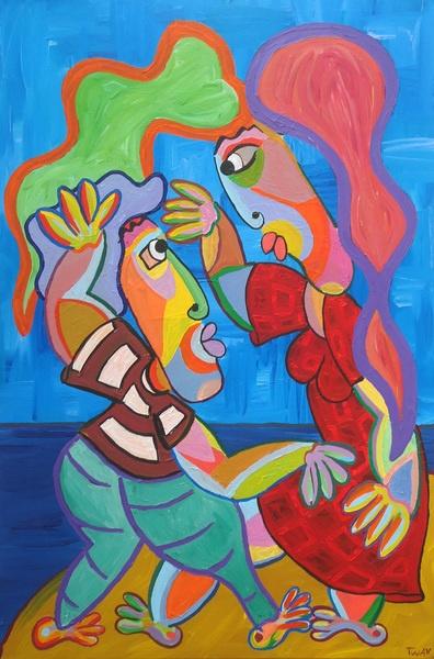 Schilderij Als magneten van Twan de Vos, al dansend volkomen in trance de hele wereld om zich heen vergetend, alleen oog voor elkaar, 80 x 120 cm
