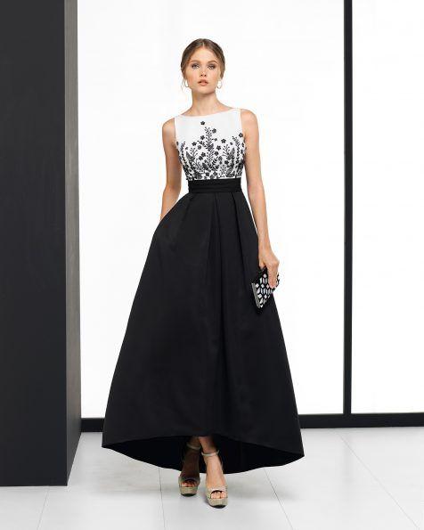 Длинное коктейльное платье из ткани оттоман с отделкой бусинами; цвета: натуральный/серебристый и натуральный/черный.