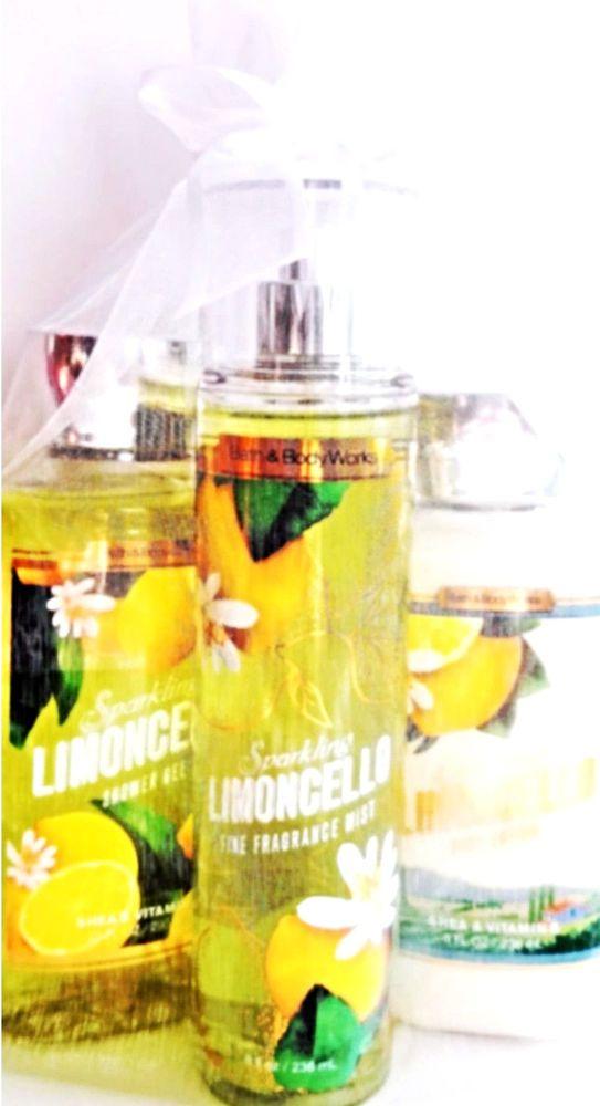 Bath & Body Works Sparkling Limoncello Gift Set of 3 Body Lotion Mist, Bath Gel #BathBodyWorks