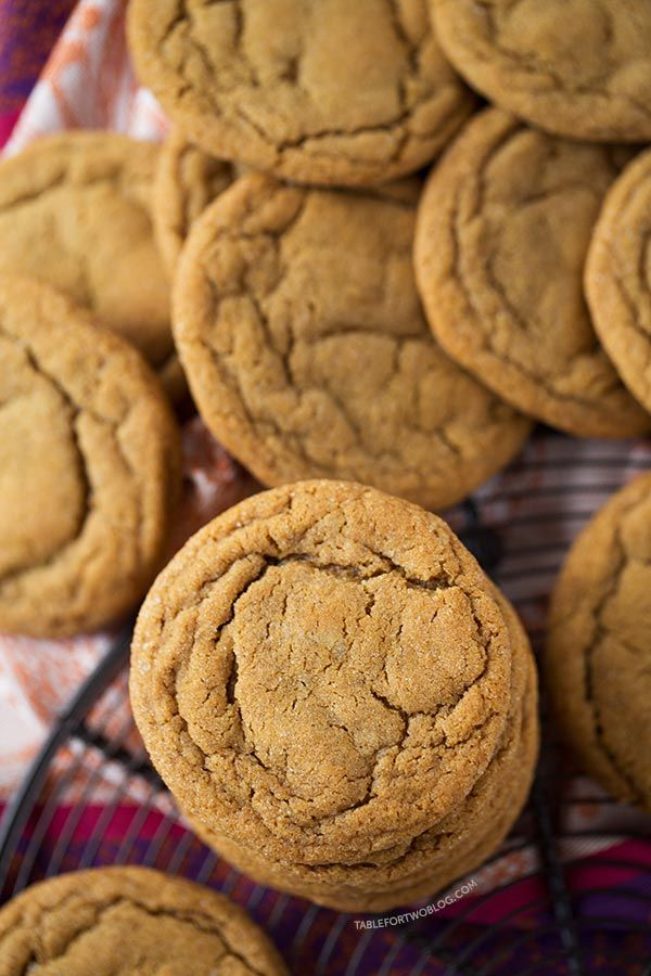 The softest and chewiest ginger molasses cookies you'll ever make! Recipe on tablefortwoblog.com