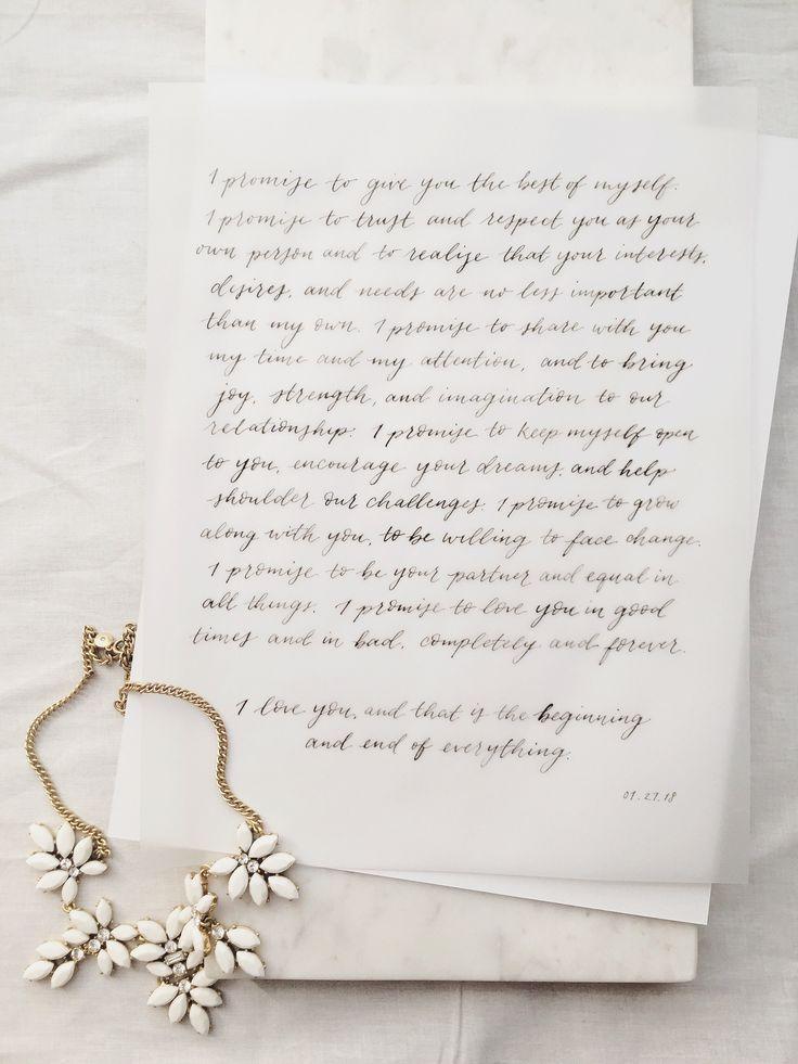 amy zhang creative | calligraphy wedding vows | calligraphy on vellum | wedding stationery inspiration | wedding keepsake | wedding day details | classic wedding inspiration