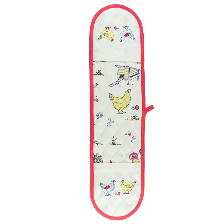 Australian Certified Organic cotton double oven mitt. Designed in Australia. Printed with water based dyes. Machine embroidered chickens and repeat print. Design features chickens, eggs and farmyard scene. #ovenmitt #chickens #kitchen