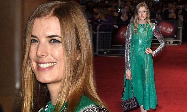 Agyness Deyn wears green leather sleeveless coat to Sunset Song