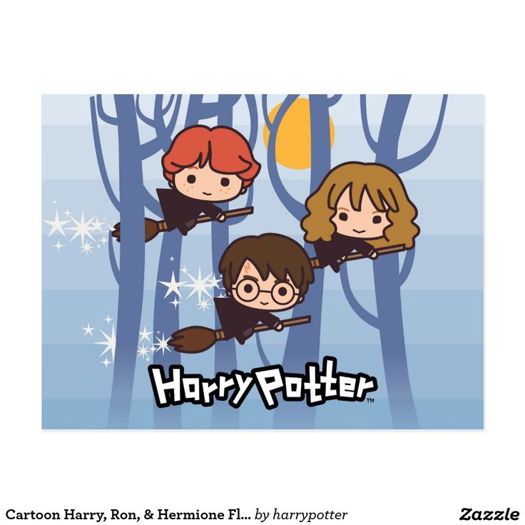 Cartoon Harry, Ron, & Hermione Flying In Woods. Tarjeta postal, postcard #tarjeta #postcard