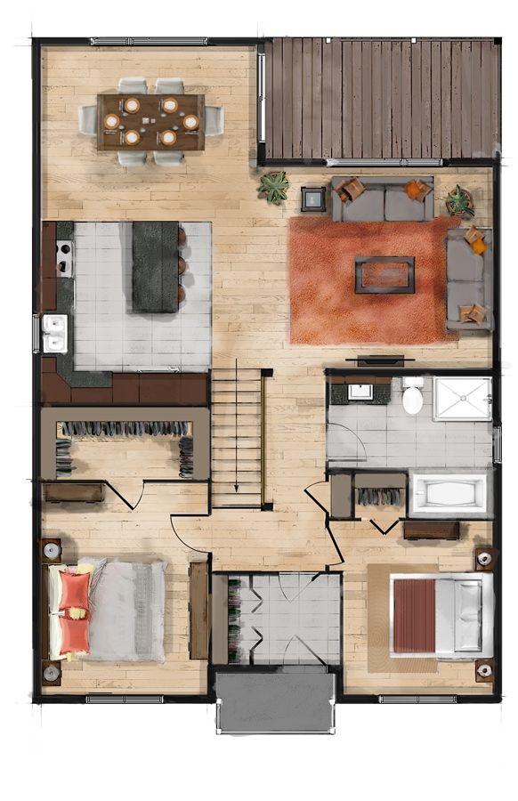 59 best plantas arquitectónicas images on Pinterest House - plan maison plain pied 80m2