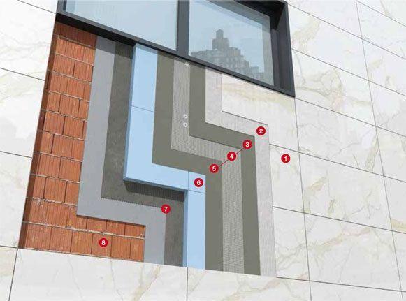 Thermal Cladding system-FATADE placate cu gresie portelanata cu grosimea de 6 mm (15 kg/mp) si dimensiuni de: 3x1,5 m, 3x1 m, 1,5x1,5 m, 1,5x1 m, 1x1 m ... Contact: office@LastreCeramice.ro