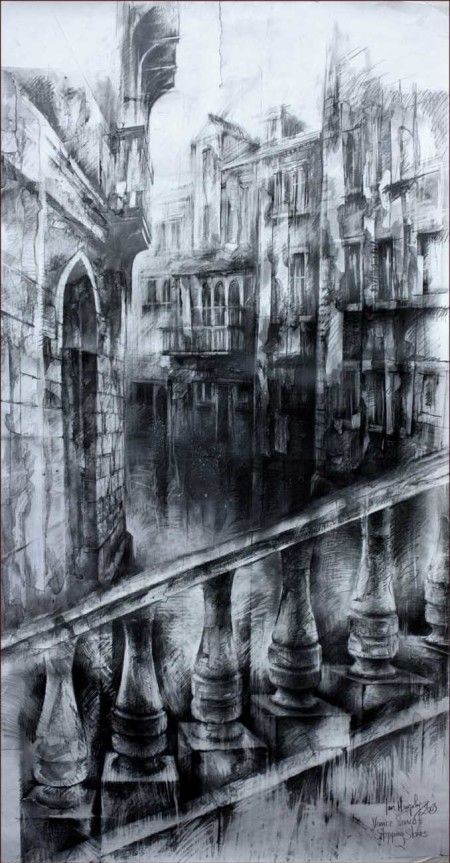 Great charcoal drawing to show contrast of light and dark.