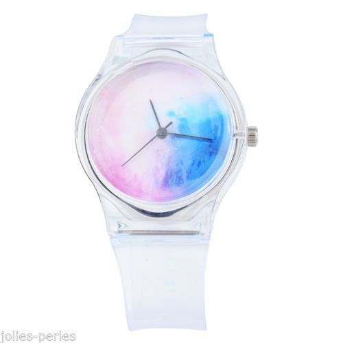 JP 1PCs New Fashion Quartz DIY Starry Sky Silicone Bracelet Watch For Women