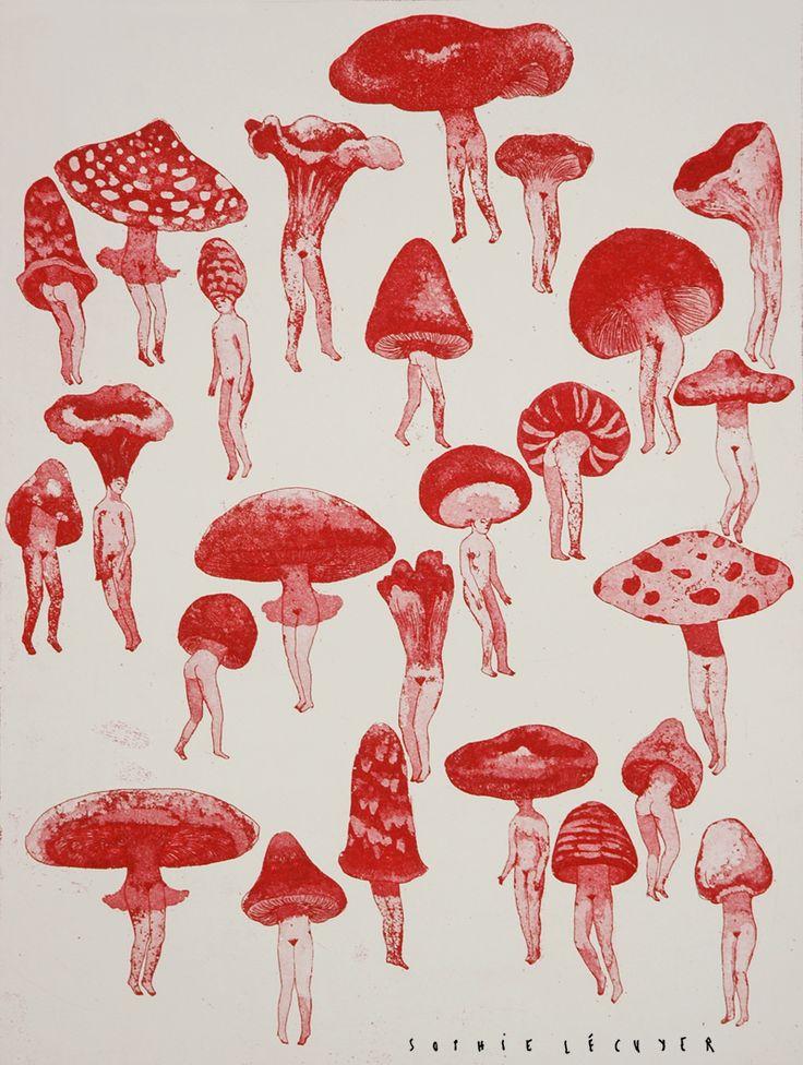 """redlipstickresurrected: """"Sophie Lécuyer (Französisch, geb. 1987, Épinal, Frankreich) – Picking Water, 2015 Lithografie"""""""