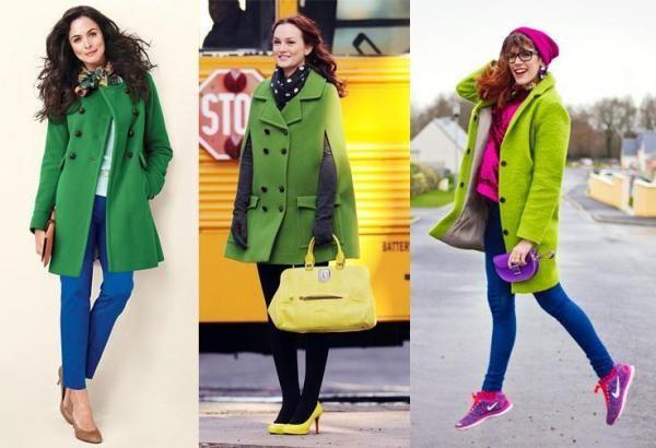Cappotto verde con colori appariscenti