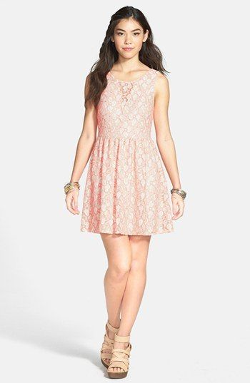 Lush V-Back Lace Skater Dress (Juniors) (Online Only)