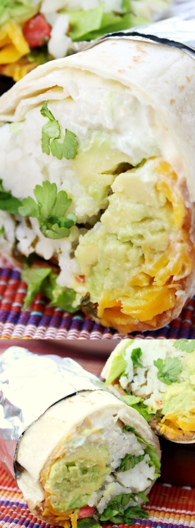 This 7 Layer Burrito from Love Bakes Good Cakes is a great meal for any weeknight, and it's even vegetarian! With cilantro lime rice, guacamole, tomatoes, cheese, sour cream, beans, and lettuce, its a healthier and filling meal that will please everyone.