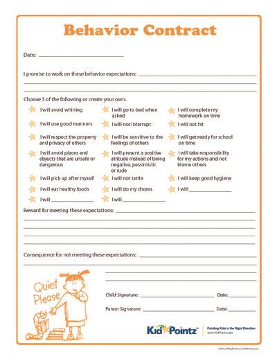 Behaviour contract for kids, from an amazingly helpful website!