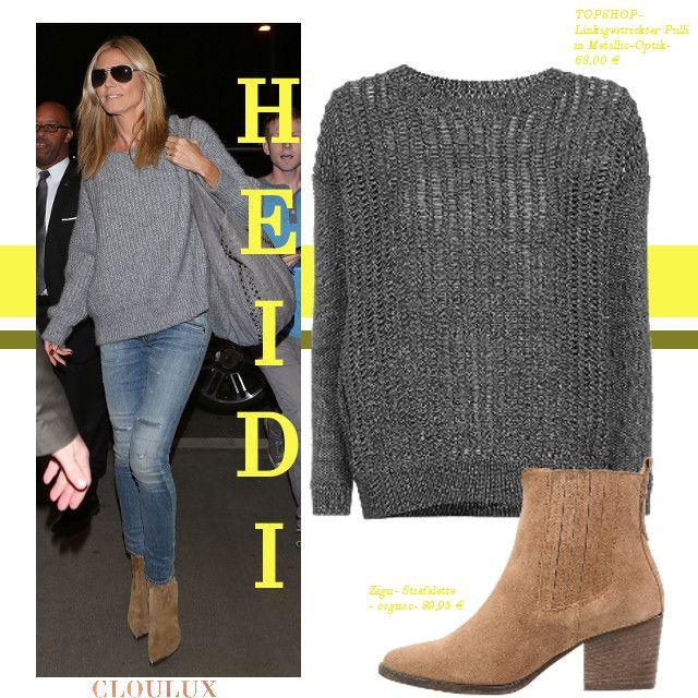 Heidi Klum trägt einen legeren Alltagslook mit einem coolen oversized Pullover und Absatzstiefeletten