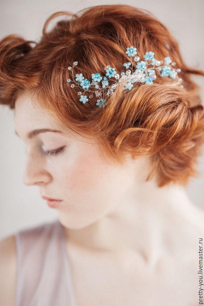"""Купить Гребень для прически невесты свадебный """"Розето"""" - голубой, белый, хрусталь, прозрачное, украшение"""