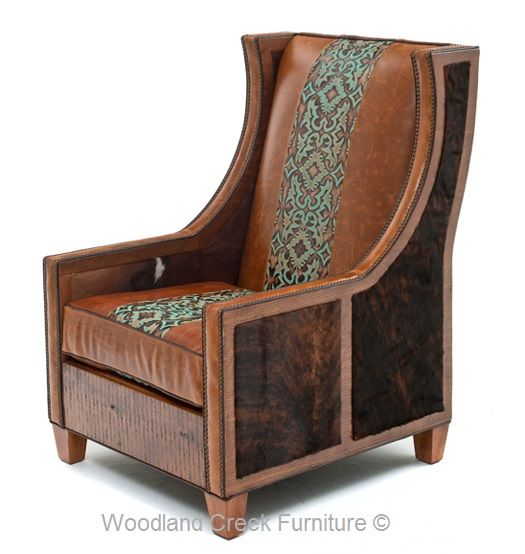 Unique Hair On Hide Western Chair Available At Woodland Creek Furniture.