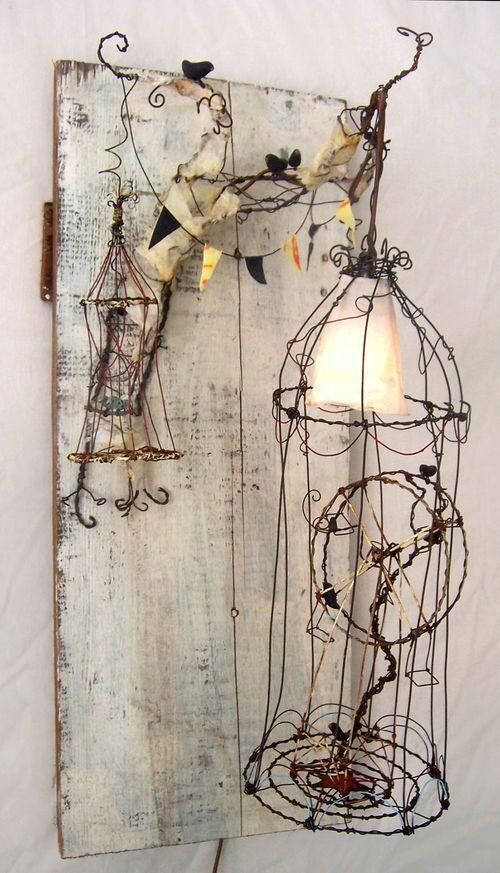 altered art, altered object, lampada alterata, riciclo creativo