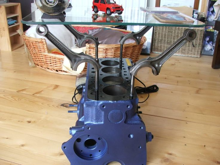 Making a 4 cylinder engine into a coffee table engine for Engine block coffee table