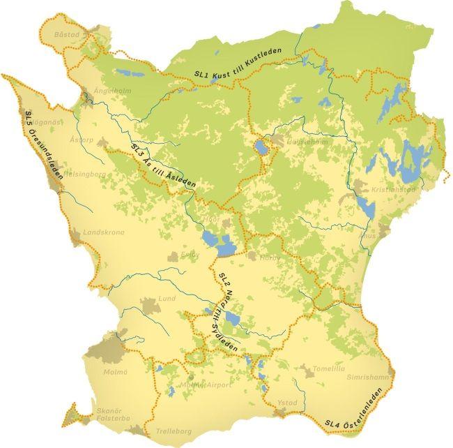 Map of the Skåneleden Trail, southern Sweden