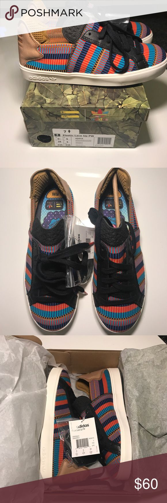 Adidas X Pharrell Williams NWT Adidas Consortium X Pharrell Williams Elastic Lace Up Sneaker - Pink Beach - women's 7, men's 5 1/2, UK 5  New in box with tags and extra pair of laces.  Never been worn. adidas Shoes Sneakers