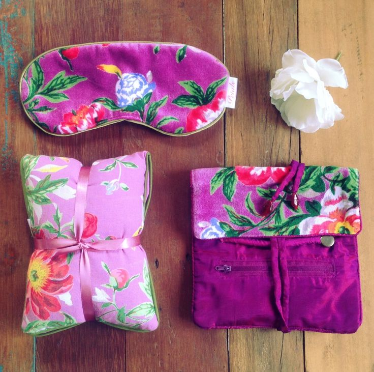 Our beautiful Spring Bloom collection in Lilac. Wheattie bag, eye mask and jewellery bag.  www.rosaliving.co.nz www.rosaliving.com.au